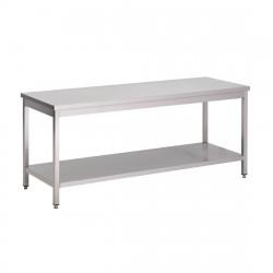 Table Inox Centrale avec Etagère basse