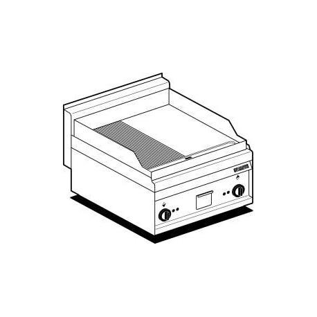 Fry-Top Electriques Plaque Acier 1/2Lisse 1/2Rainurée Chrome