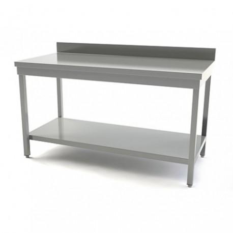 TABLE INOX AVEC DOSSERET LONGUEUR 1600MM