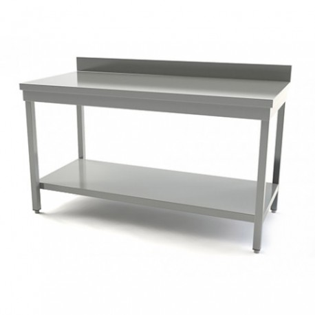TABLE INOX AVEC DOSSERET LONGUEUR 1400MM