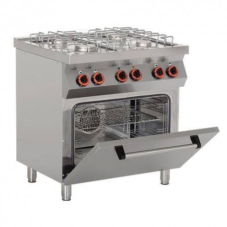 Cuisinière à gaz 4 x brûleurs (19 kW) + four électrique ventilé (3 kW)
