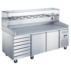 Meuble à Pizzas Positif Gamme 800 2 portes/7 tiroirs à patons neutres
